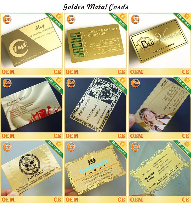 Venda quente high-end personalizado em branco gravado rodada espelho de canto de metal cartões de visita
