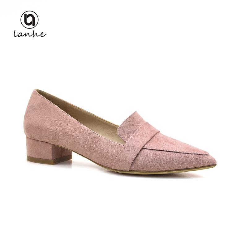 2d86b96b1 Дизайнерские простые туфли на толстом каблуке замшевые туфли на низком  каблуке Женская обувь chengdu