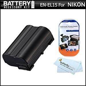 Battery Kit For Nikon D750, D7200, D7100, D7000, D600, D610, D800, D800E, D810 DSLR and Nikon 1 V1 Digital Camera Includes Extended Replacement (2500Mah) EN-EL15 Battery (FULLY DECODED!!) + Screen Protectors + MicroFiber Coth (Battery Shows time on LCD!)