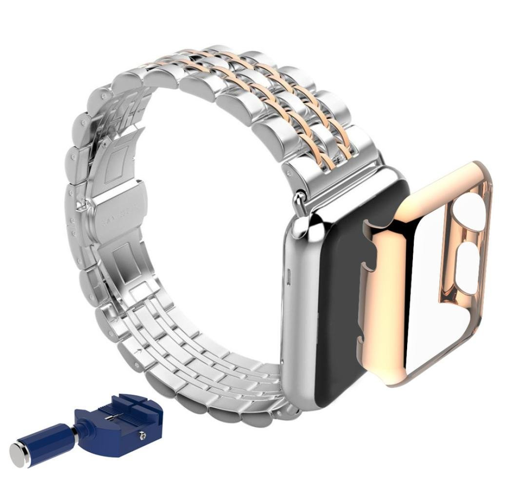 For Apple Watch iWatch 42mm, Oksale® Luxury Stainless Steel Smart Watch Replacement Bracelet Strap Band + Adapter + Protective Case Cover Frame