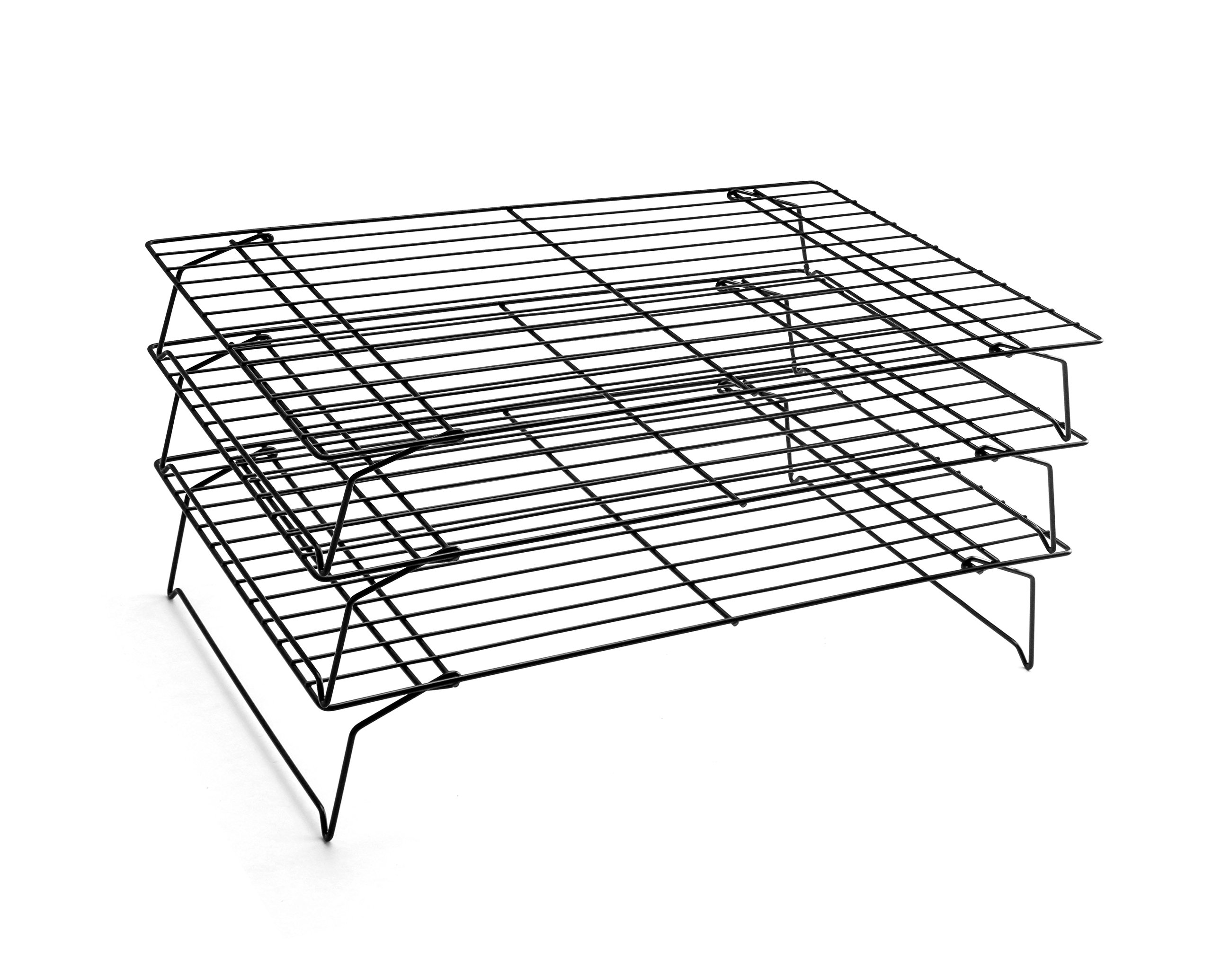 """Good Helper Non-stick 3-Tier Cooling Rack Grid, Black, 15-3/4"""" by 9-6/7"""""""