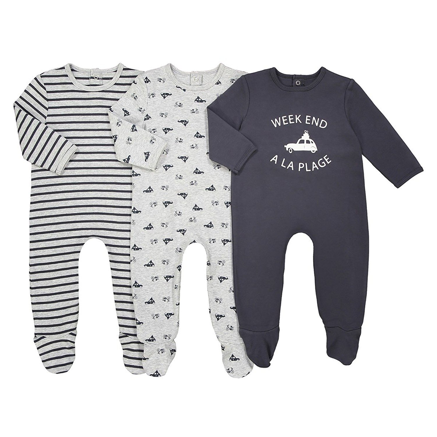 ca5532dc3 Get Quotations · La Redoute Collections Big Boys Pack of 3 Car Motif  Sleepsuits, Birth-3 Years