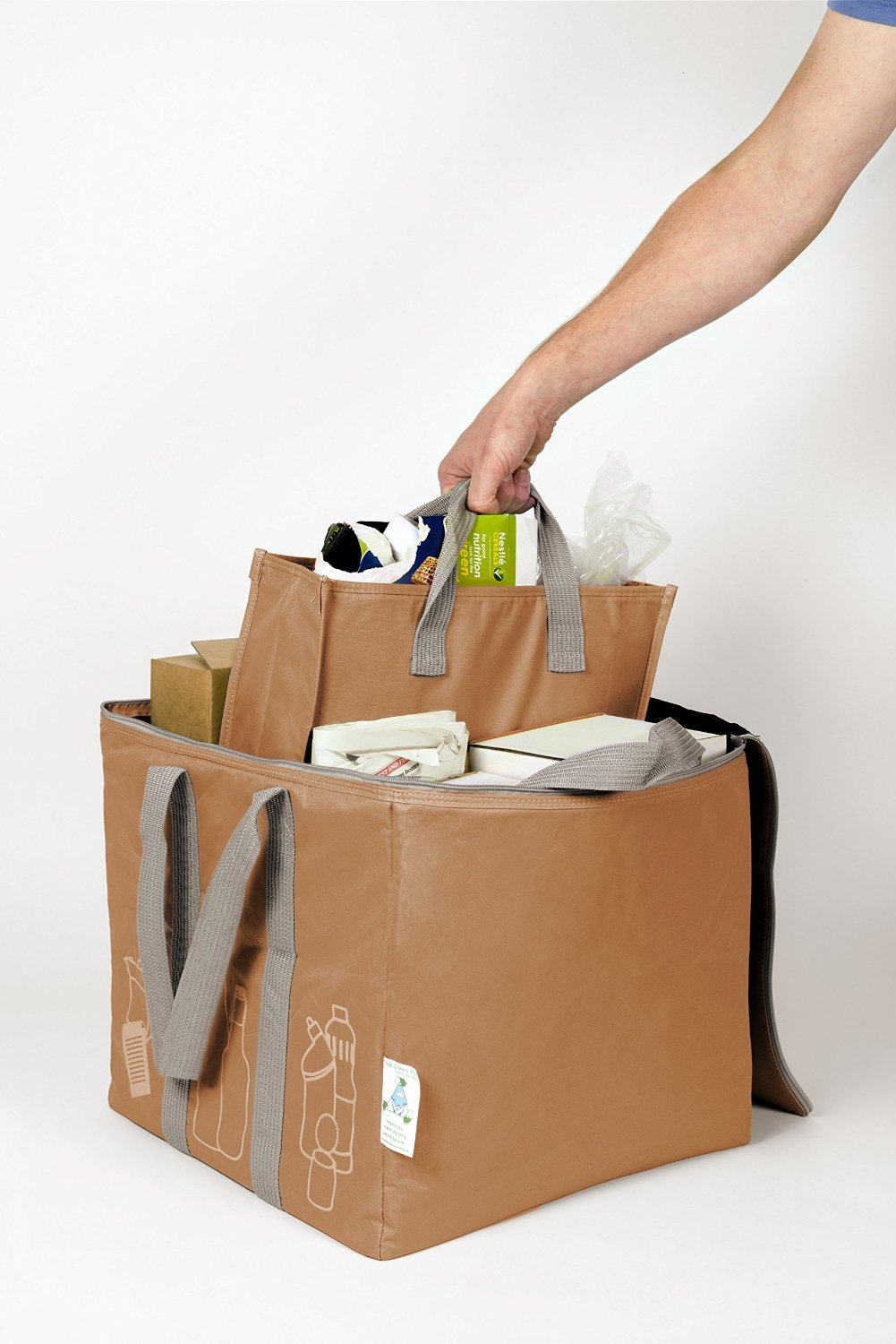 The Patented Green Pod Recycling Bag - with removable bags inside (Brown,80 Litre) by Element Green Recycling