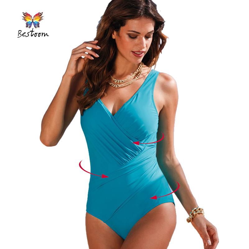 62c188fef5a0e 2016 New Arrival Vintage One Piece Swimsuit Women 2016 Plus Size Swimwear  Beach Swim Wear Padded Print Polka Dot Bathing Suits