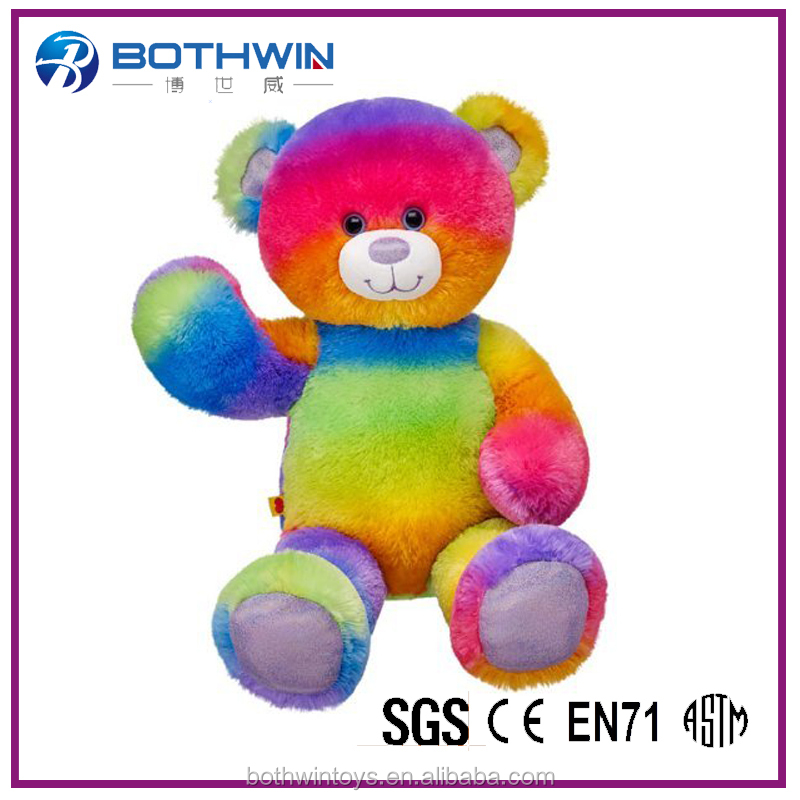 Fashional giant stuffed rainbow plush teddy bear