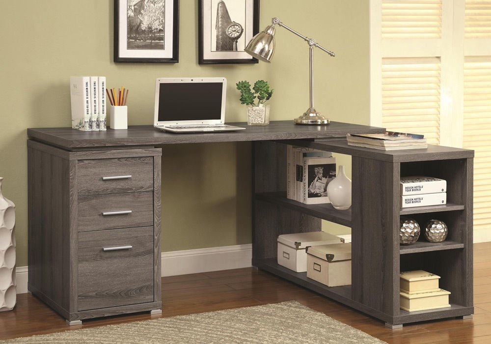 1PerfectChoice Yvette L-Shape Office Writing Study Computer Desk Multi Storage Drawers Shelves Color Weathered Grey