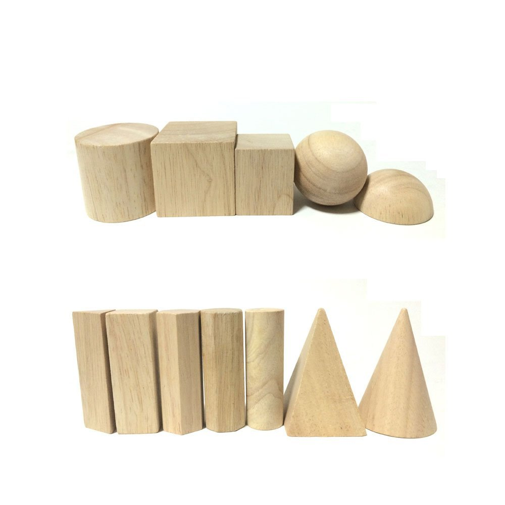 StarMall Set of 12 Montessori Teaching Aids Unfinished Wooden Building Blocks Set