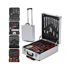 186 pcs mechanical auto repair Socket Wrench tools hand tool set in Aluminum trolley