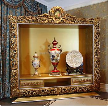 French rococo style luxury goldleaf wall tv cabinet for What is the other name for the rococo style