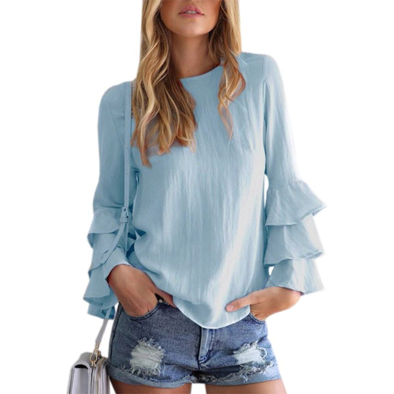 Autumn Shirts Blusas Long Butterfly Sleeve Solid Blouses Kawaii Women 2017 Blusa Work Office Wear Casual Loose Women Tops GV620