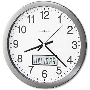 """14"""" Quartz, Analog Chronicle, Wall Clock with LCD Inset, Gray"""