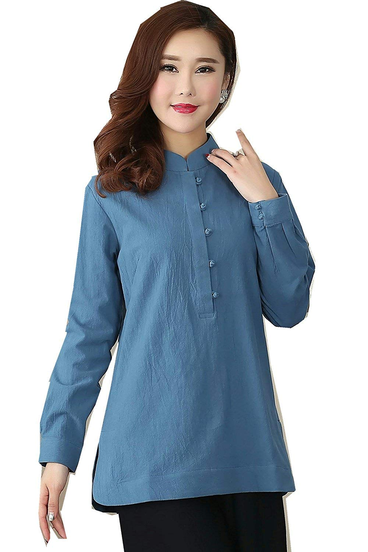 bf08d8608 Get Quotations · Shanghai Story Long Sleeve Women's Chinese Top Blend Linen  Blouse Qipao Shirt
