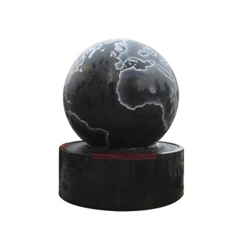 Garden indoor decor Black marble Rolling ball water fountains