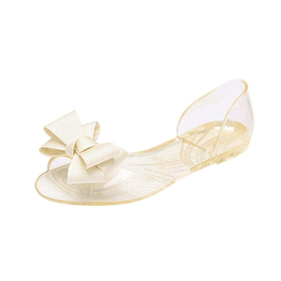 9505f1702fdb Get Quotations · Womens Ankle Sandals Flat Bow Fish Mouth Transparent Summer  Bohemia Flower Women Slim Strap Flip Flop