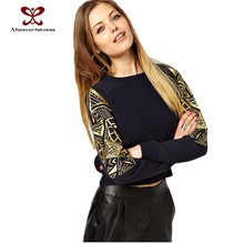 2015 Sexy women sweater fashion causal clothes Europe America knitting thin embroidery stitching jumper joker sweater