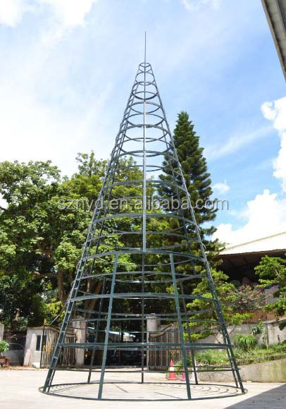 Whole Mountain King Outdoor Giant Artificial Metal Frame Christmas Tree With Pvc Leaves