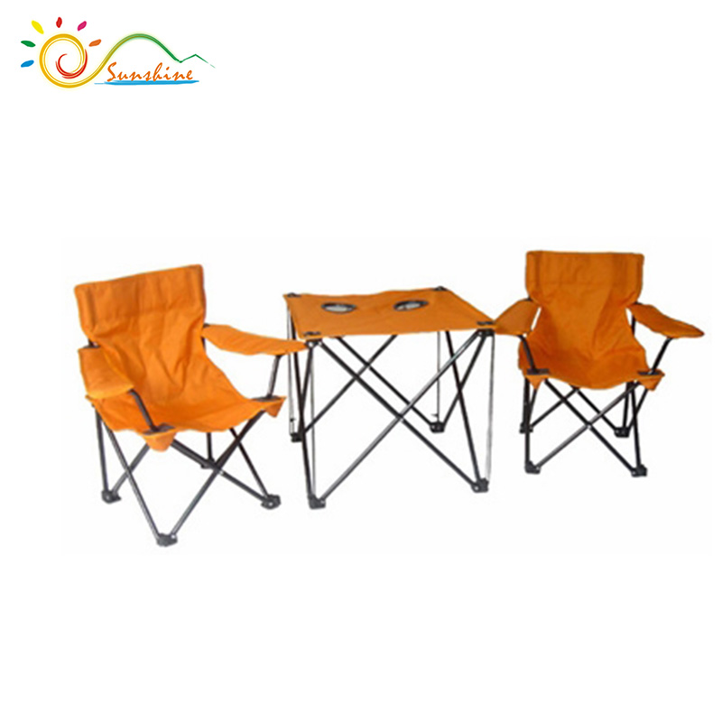 Populaire triated tissu chaise et tables, Pliage de camping ensemble