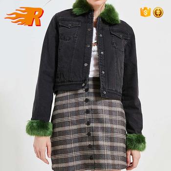 Vintage Denim Washed Black Faux Fur Collar Jean Jacket Women Buy