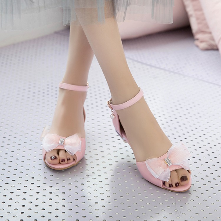 Большие размеры 11, 12, 13, босоножки на высоком каблуке Женская обувь женские летние туфли с открытым носком и прозрачной кружевной пряжкой с б...(Китай)