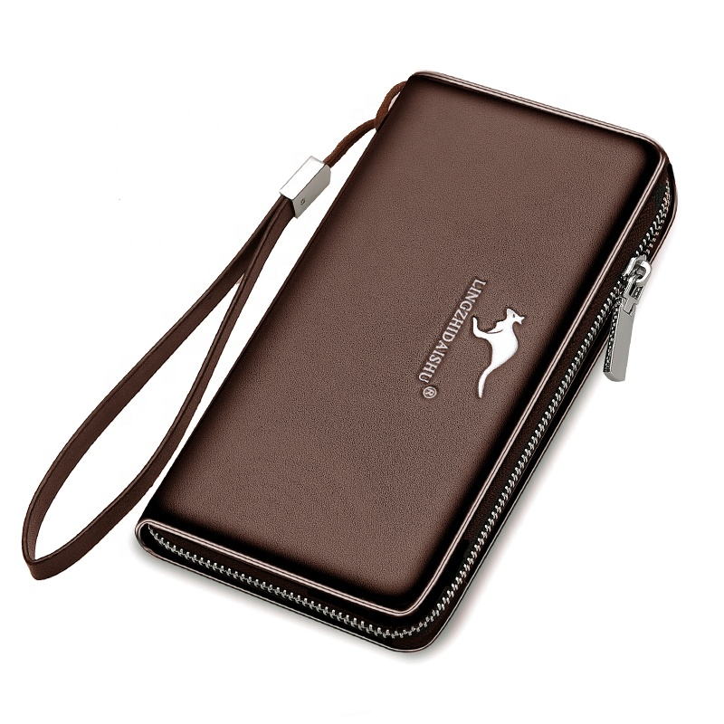 Custom Wholesale Fashion Business PU Leather Card Holder Wallet for man Purse Clutch bag Long Wallet Men