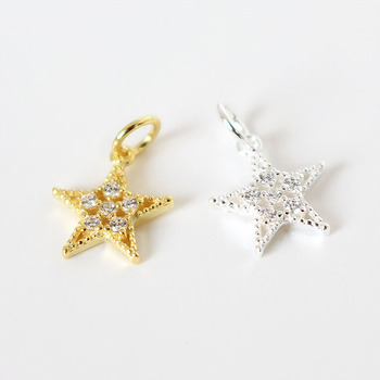 Wholesale jewelry making accessory hollow star shape 925 sterling silver CZ pendant