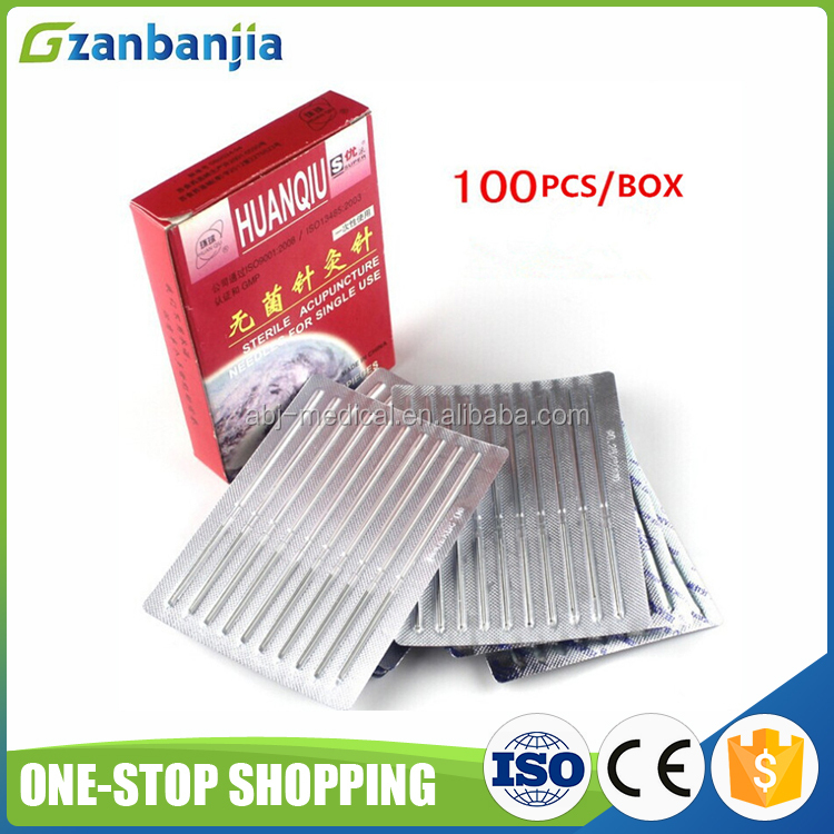 Chinese Therapy Huanqiu Disposable Sterile Press Acupuncture Needles without Guide Tubes
