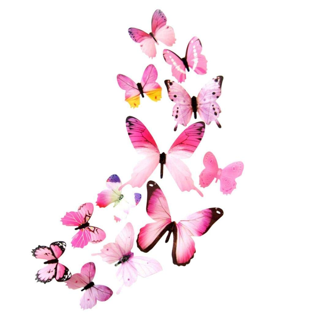 Butterfly Wall Stickers, Sjybuy 12pcs 3D Butterfly Rainbow Wall Stickers Decal Home Art Decorations (Pink, 12 pcs)