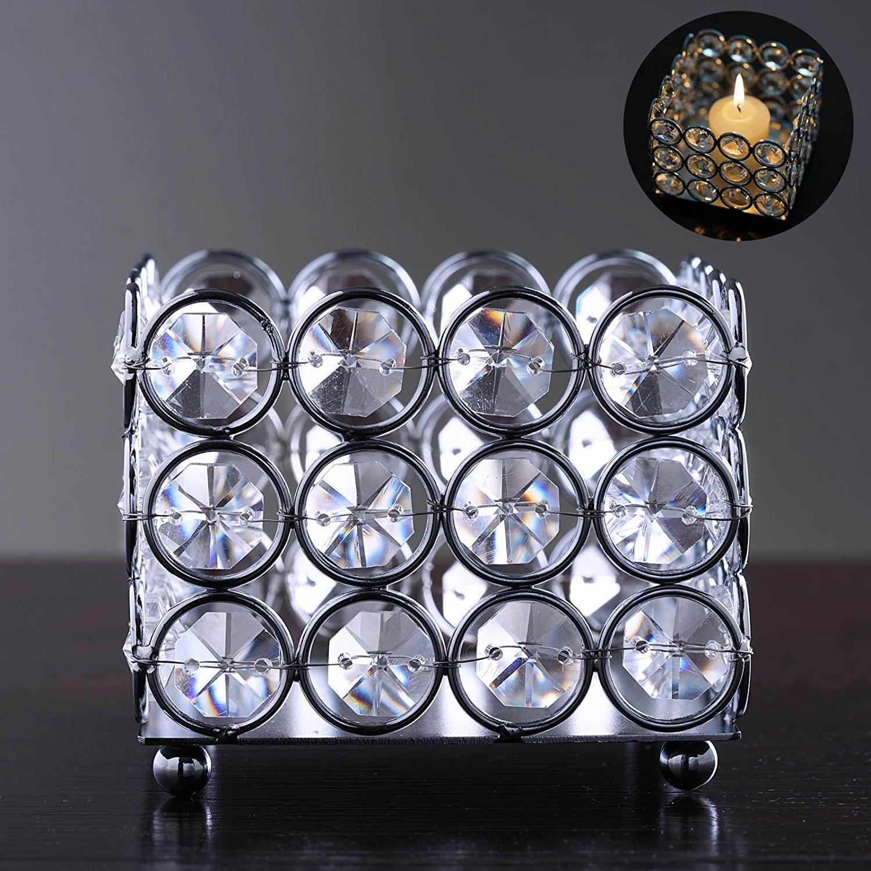 "Efavormart Illuminating Square Votive Tealight Wedding Crystal Candle Holder - 3.25"" W x 3.25"" L x 2.5"" H"