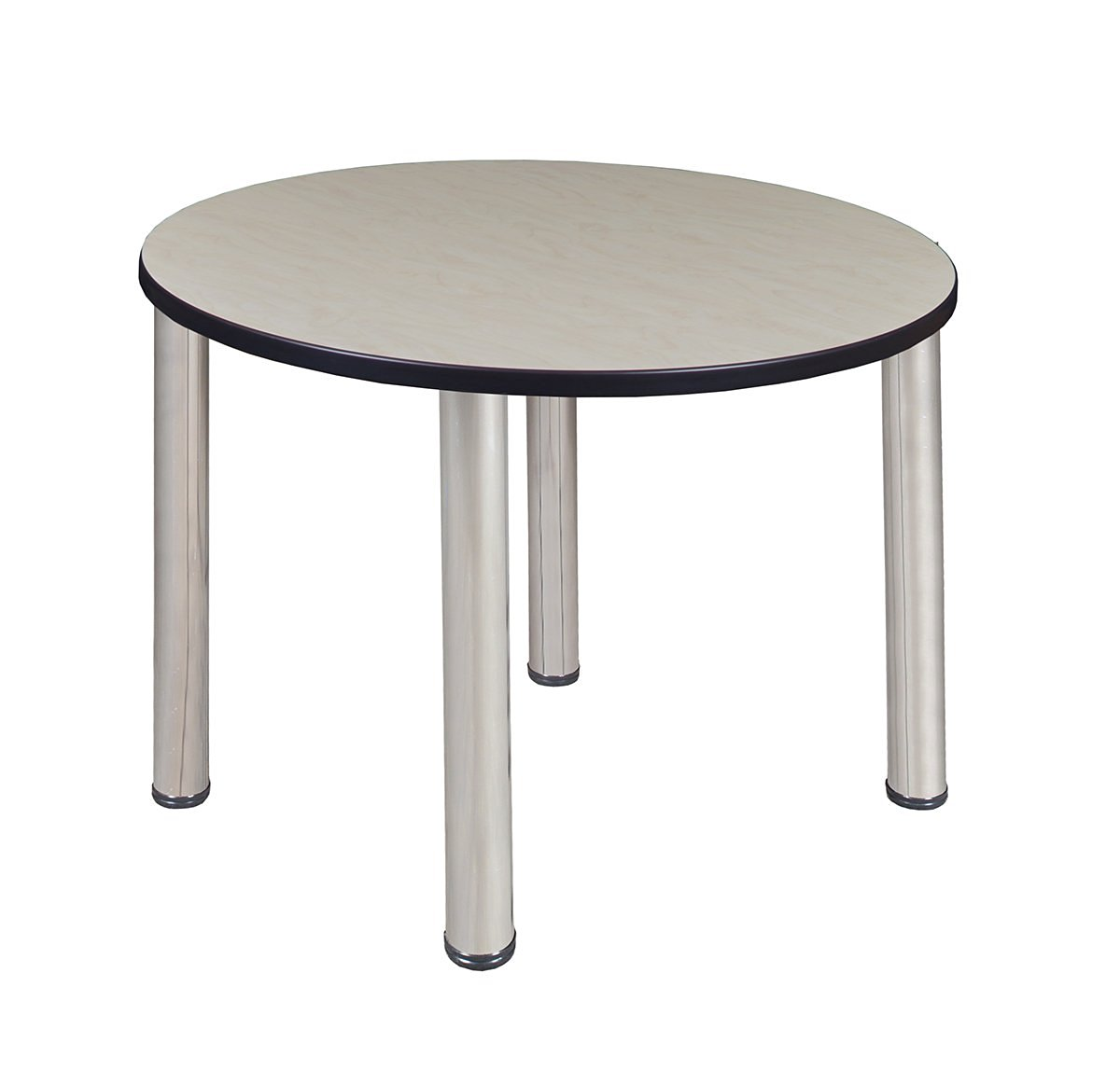 """Kee 36"""" Round Breakroom Table- Maple/ Chrome"""