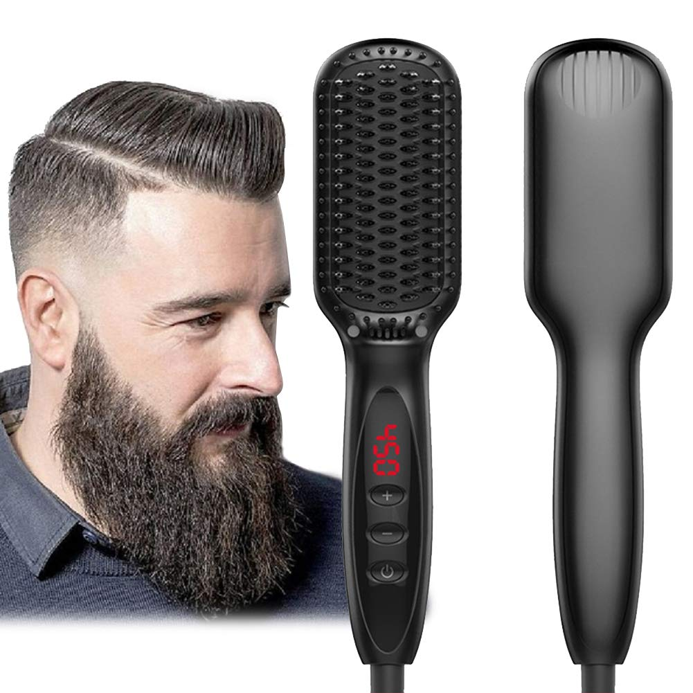 Amazon best selling Electric brush beard hair straighteners LCD display heat straightening CE certified Hair straightening brush фото