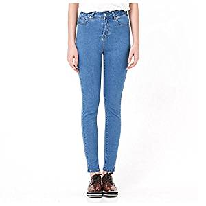 Women Jeans - SODIAL(R)Woman's Autumn Fashion High Waist jeans High Elastic plus size Women Jeans woman washed casual skinny pencil Denim pants(Light blue,6XL/US-16)
