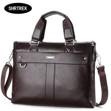 2015 Men Casual Briefcase Business Shoulder Genuine Leather Messenger Bags Computer Laptop Handbag Bag Men's Travel Bags NBB235