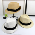 PS02 Wholesale summer white wide brim women's man fashion cheap floppy beach church juzz paper straw felt fedora panama sun hat
