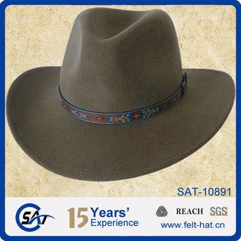 Venta caliente sombrero de vaquero para hombre 100% de fieltro de lana sombrero  de fieltro 3b61dffed9b