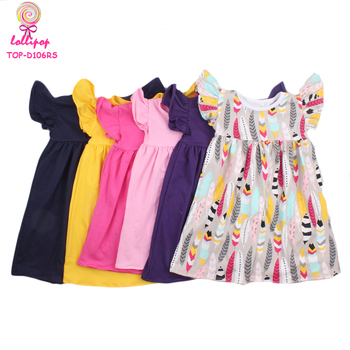 d379dd45bf82 2018 Summer Children Tunic Dress Boutique Kids Baby Pearl Dress Wholesale  Girls Twirl Dress With Flutter