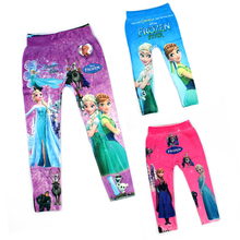 Anna Elsa Digital Printing Girl Pants Fashion Baby Cartoon Pattern Leggings For Kids 3-10 Age Children Trousers