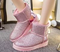Wholesale fashion plush inner warm winter women ankle flat snow boots
