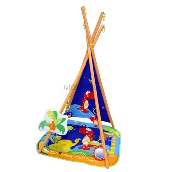 2019 Cartoon Plush Pillow Baby Activity Gym Play Mat OEM Dinosaur Pattern Teepee Baby Soft Toys Folding Play Gym Mat