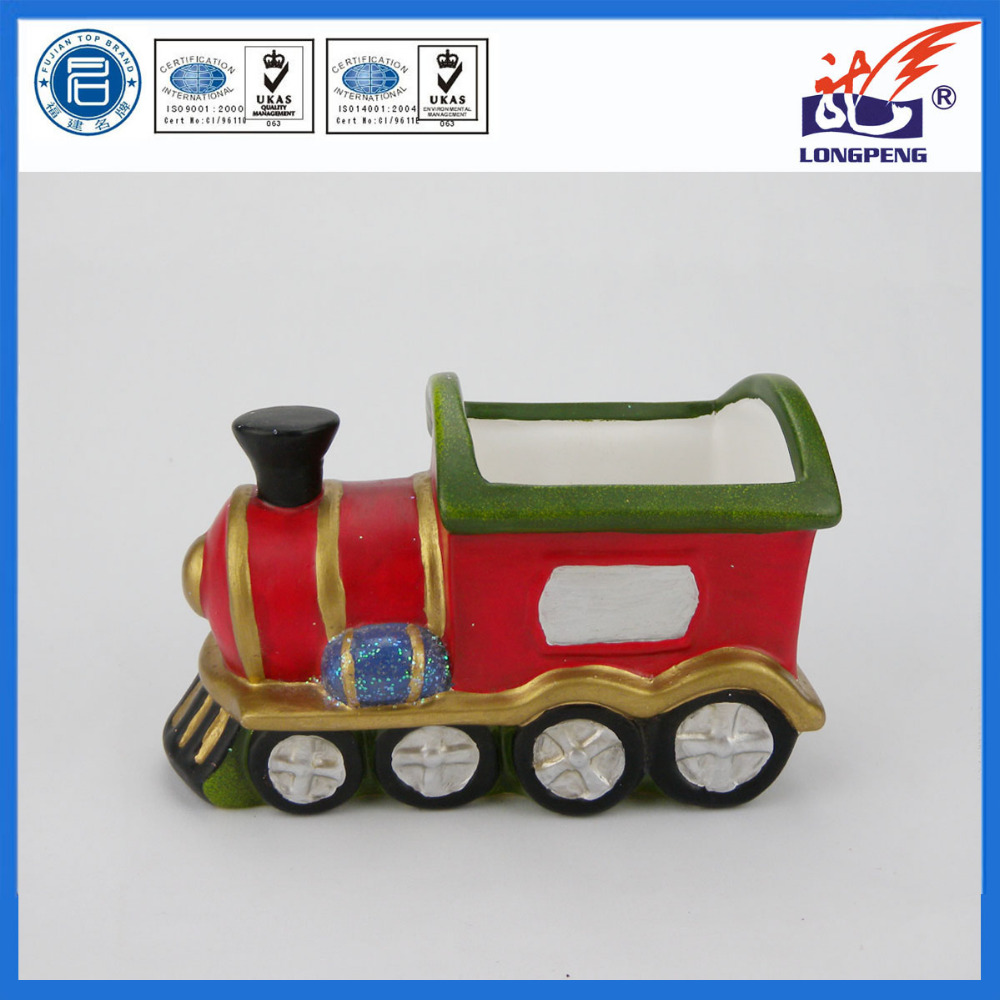 Christmas Ceramic Jar,Red Train Engine Locomotive,Ceramic Train Flower Pot/Planter