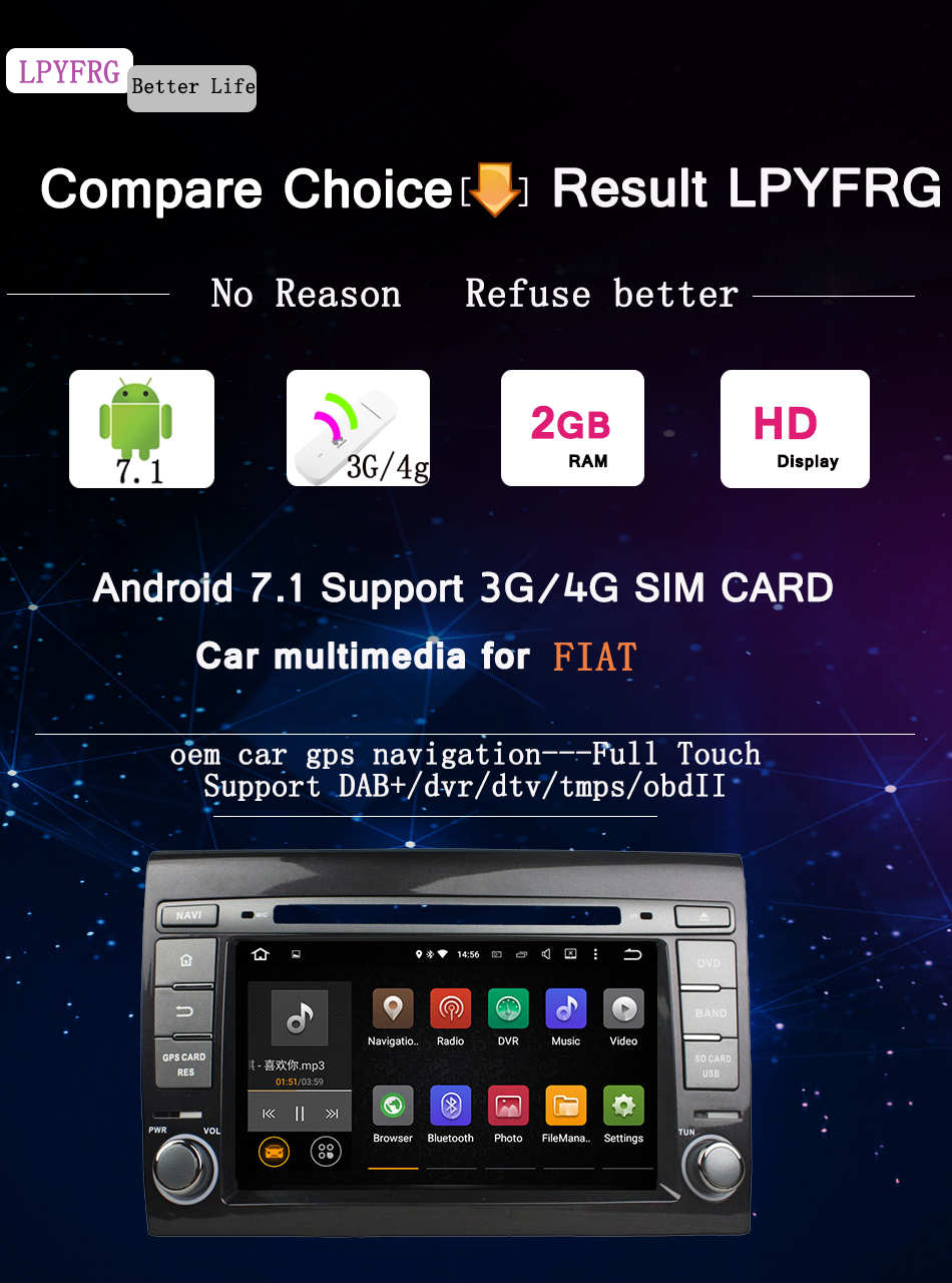 android 7.1 car video dvd stereo player for fiat bravo tube 2012