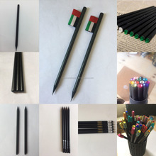 2018 hot sale personalized black pencils/black wood pencil with or without eraser ,dipped top ,crystal stone and label flag