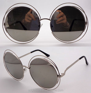 Factory price high auqlity alloy round double rim metal silver mirror lens women shades sunglasses