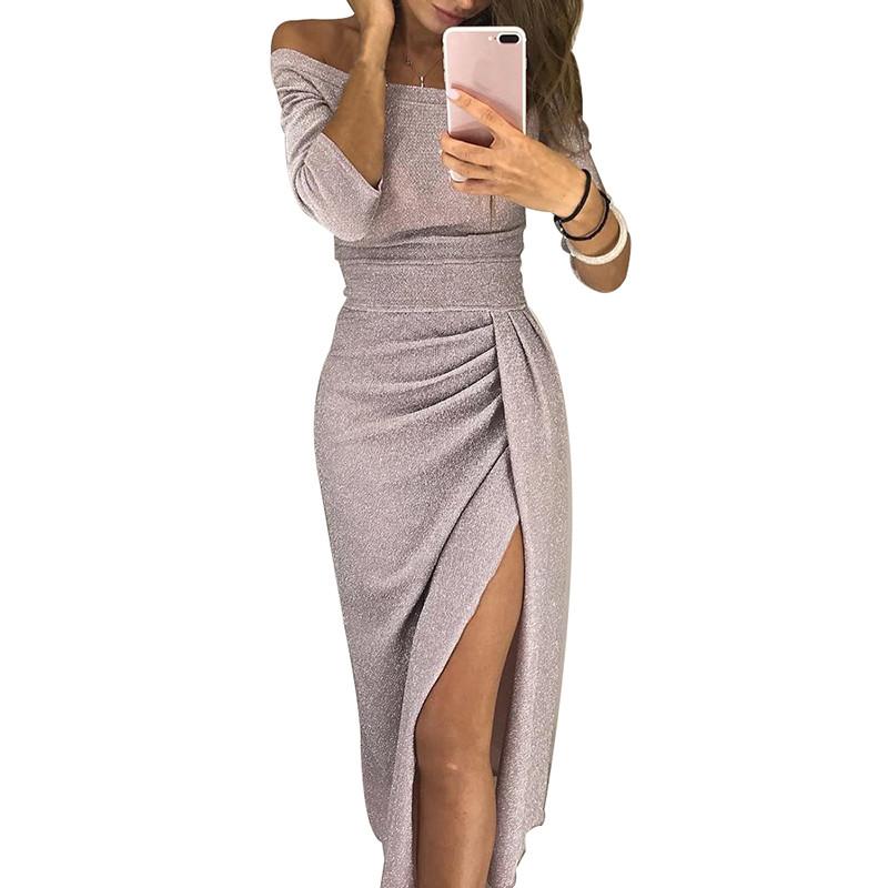Alibaba.com / Off Shoulder Sexy Split Bodycon Midi Dress Women Shiny Luxury Long Party Dresses
