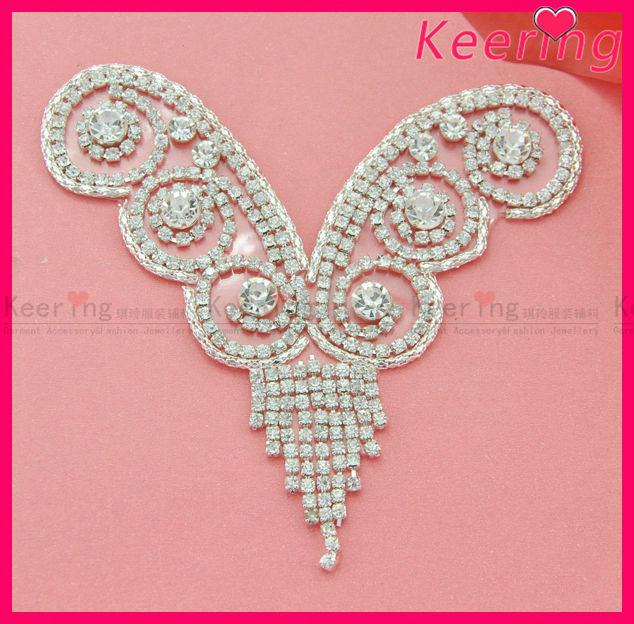 Wholesale neckline design iron on rhinestone applique for decoration WRP-045