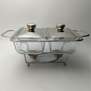 Glass Double Warmer Chafing Dish with Serving Stand