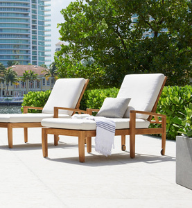 outdoor use teak wood sun bed with arm