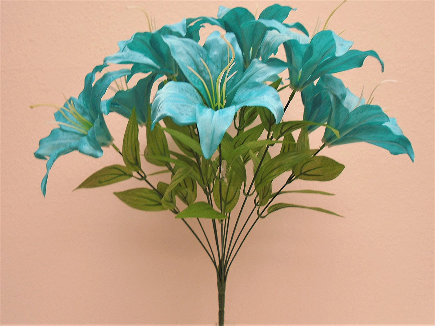 Cheap blue tiger lily find blue tiger lily deals on line at alibaba get quotations turquoise blue tiger lily bush satin 11 artificial flowers 19 bouquet 8225tq izmirmasajfo