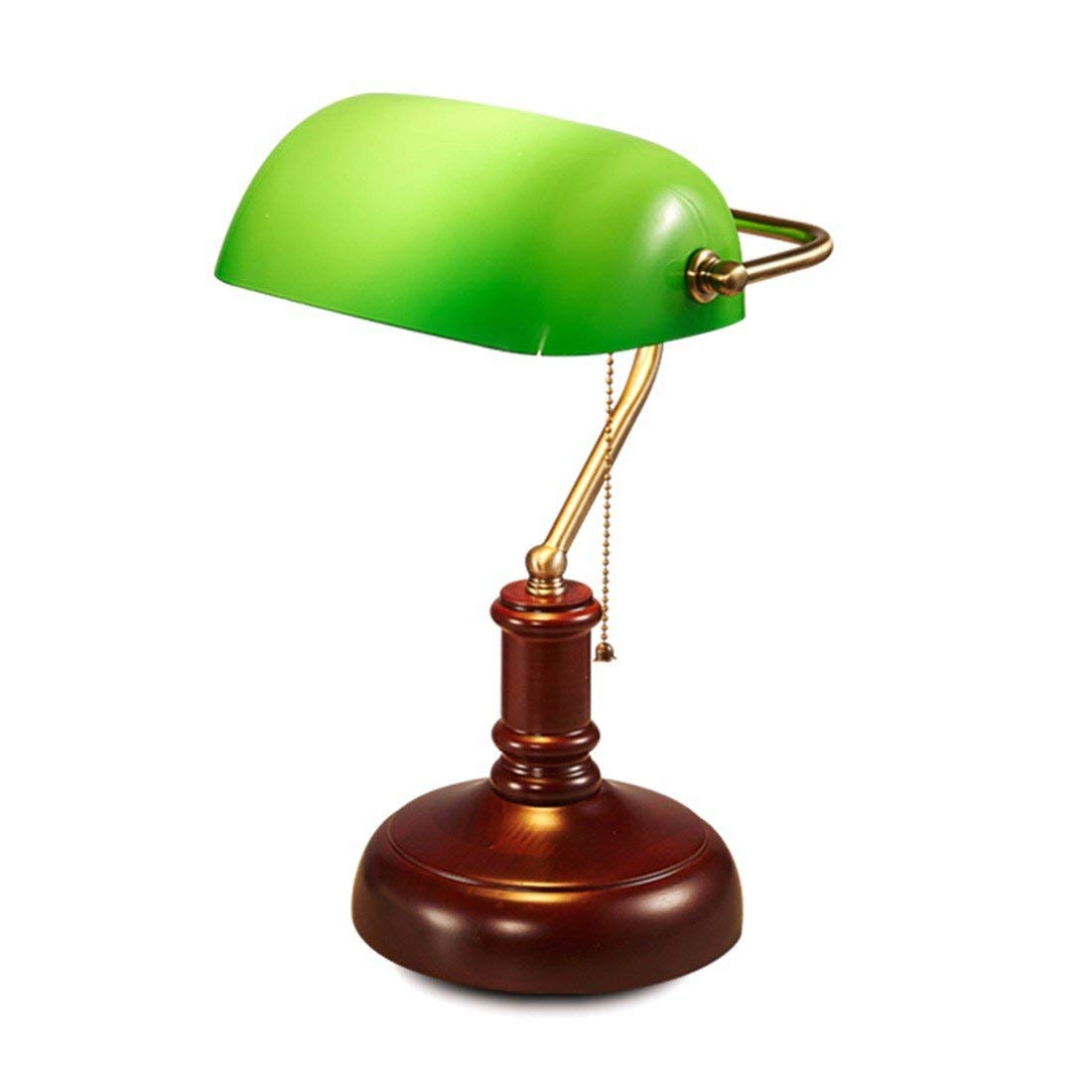 QPGGP-Table Lamp European Retro Retro Green Cover Solid Wood Study Eye Protecting Luxury Office Desk Lamp