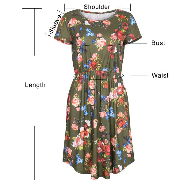 Amazonian women's wear round collar short sleeved dress