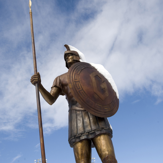 Fighting Spartan Warrior With Spear And Hoplite Shield Greek